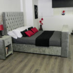 Victoria TV Bed in grey fabric