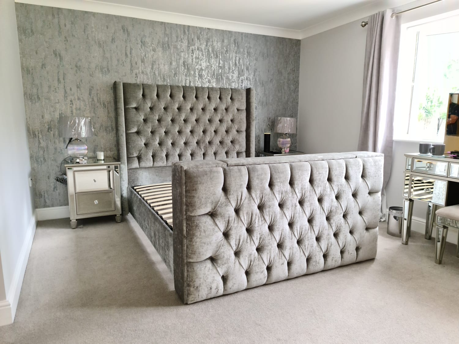 TV Bed - Eleanor shown in grey fabric with diamantes